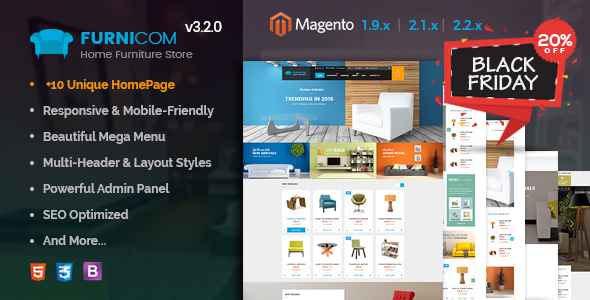 Furnicom - Responsive Magento 2 and 1.9 Furniture Theme - Shopping Magento