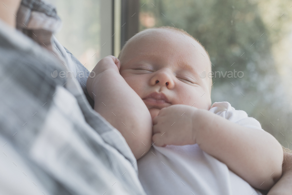 Father Holding Newborn Baby Son - Stock Photo - Images