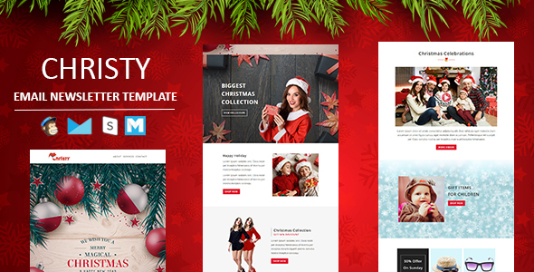 Christy - Responsive Christmas Email Template with Stampready Builder Access - Newsletters Email Templates