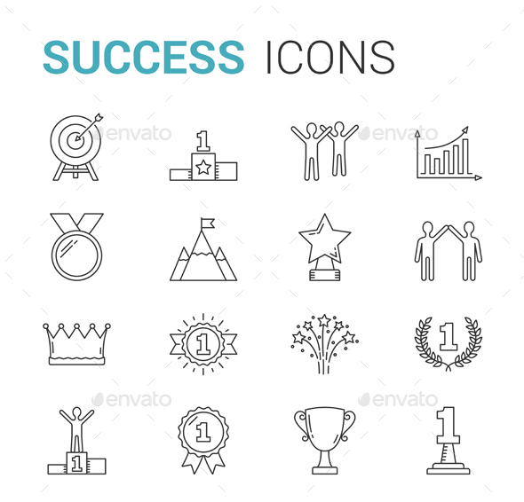 GraphicRiver Success Line Icons 21025926