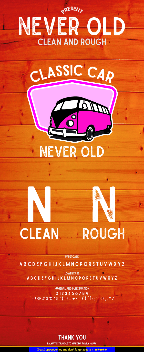 Never Old - Clean and Rough - Condensed Sans-Serif