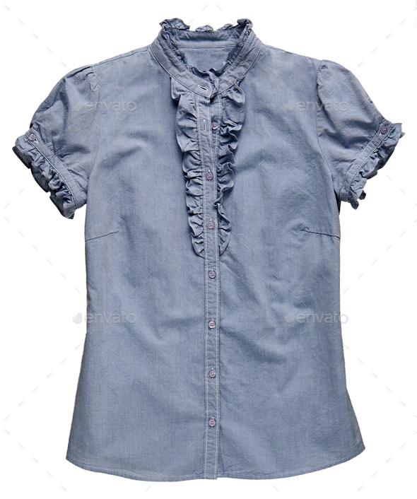 Blue denim fabric T-shirt with ruffle detail - Stock Photo - Images