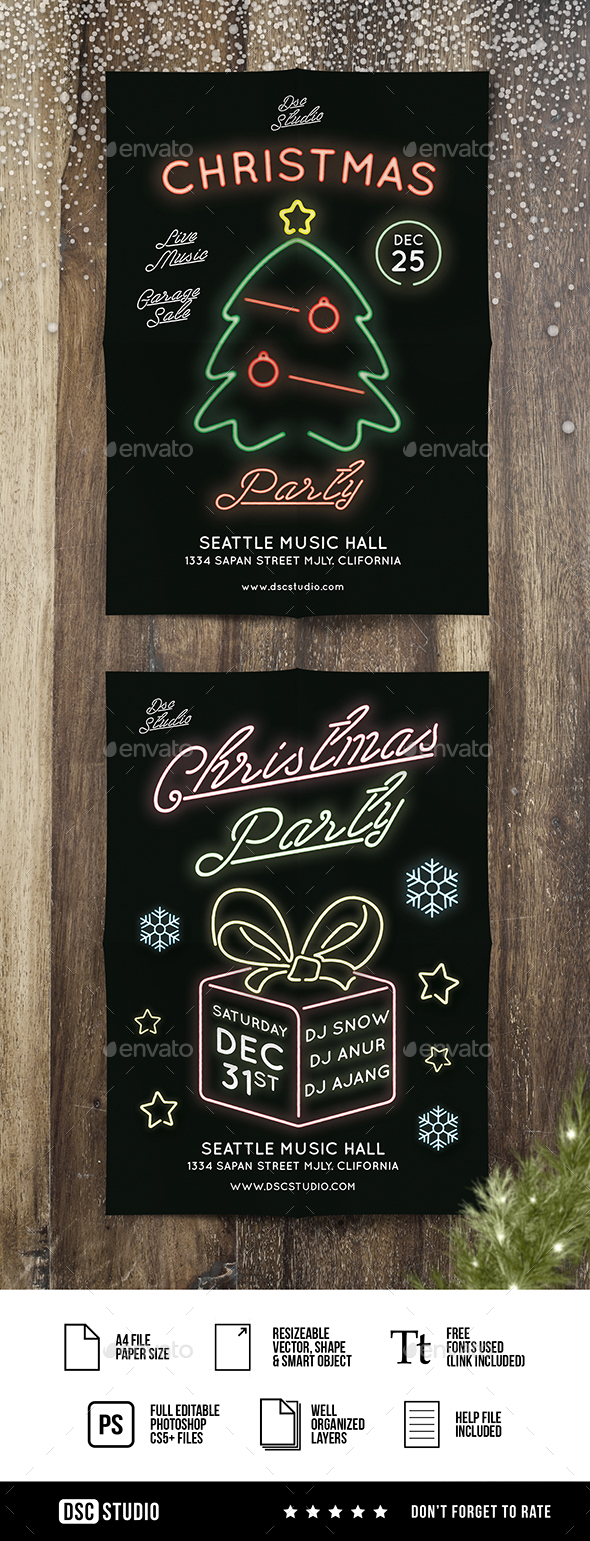 GraphicRiver Glow Christmas Party 21026491