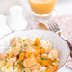 Braised chicken meat with carrot in sauce and pasta - PhotoDune Item for Sale