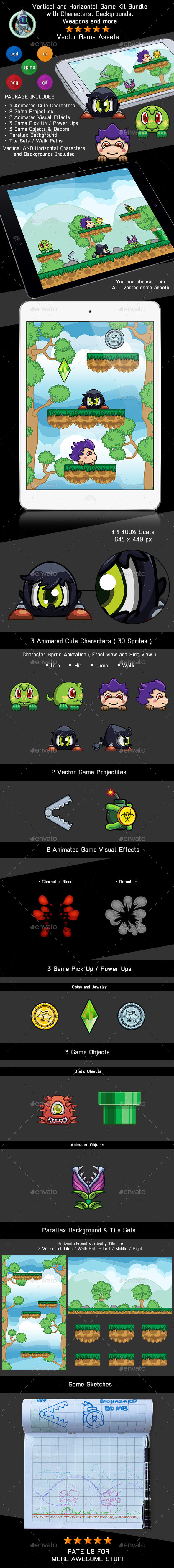 Vector Cute Game Assets with Characters, Weapons and More - Game Kits Game Assets