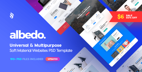 Albedo - Universal and Multipurpose Soft Material PSD Template - Creative PSD Templates