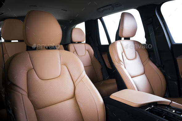 Luxury car inside. Interior of prestige modern car. - Stock Photo - Images