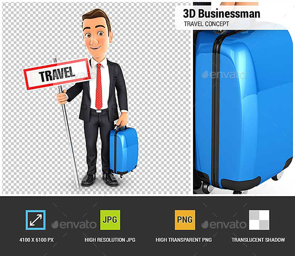 3D Businessman Travel Concept - Characters 3D Renders