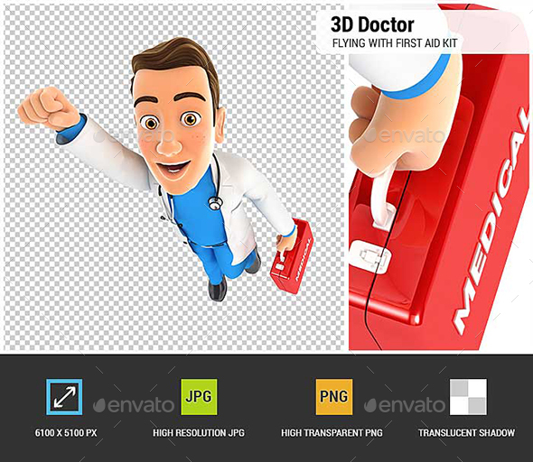 GraphicRiver 3D Doctor Flying with First Aid Kit 21027648