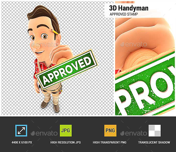 GraphicRiver 3D Handyman Approved Stamp 21027654