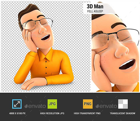GraphicRiver 3D Man Fell Asleep Leaning on his Hand 21027659