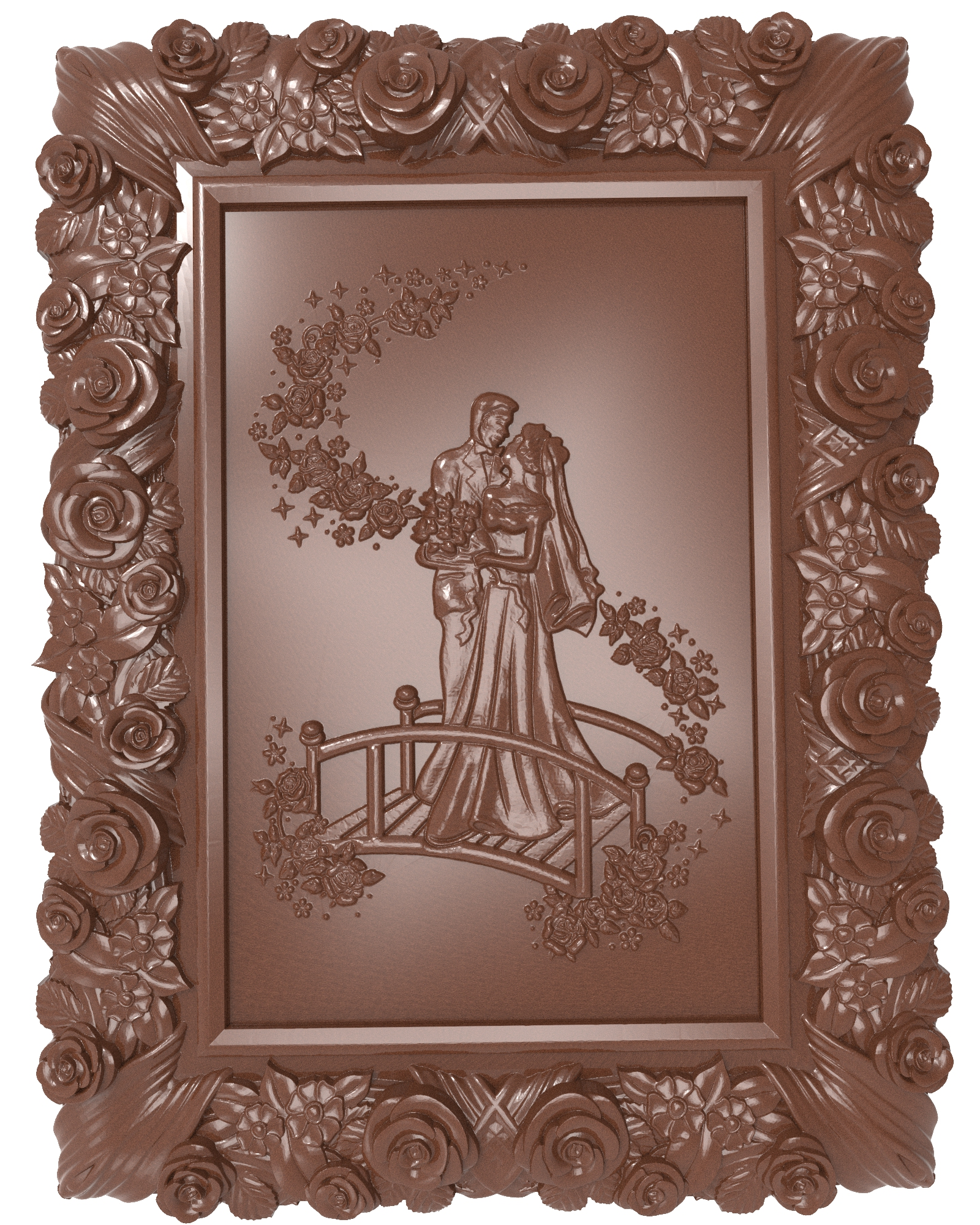 Newlyweds (Just married) bas relief for CNC