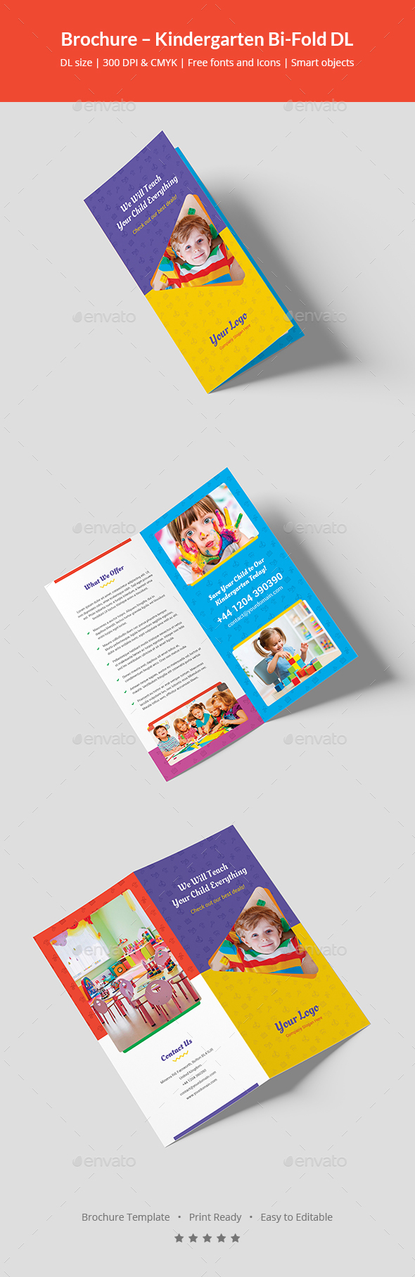 GraphicRiver Brochure Kindergarten Bi-Fold DL 21027735