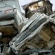 Damaged Old Cars Stacked on Big Junkyard of Recycling Factory