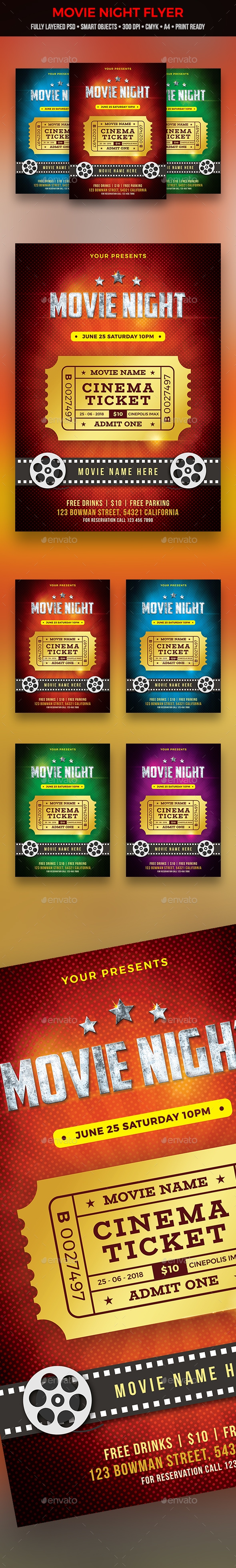 GraphicRiver Movie Night Flyer 21027980