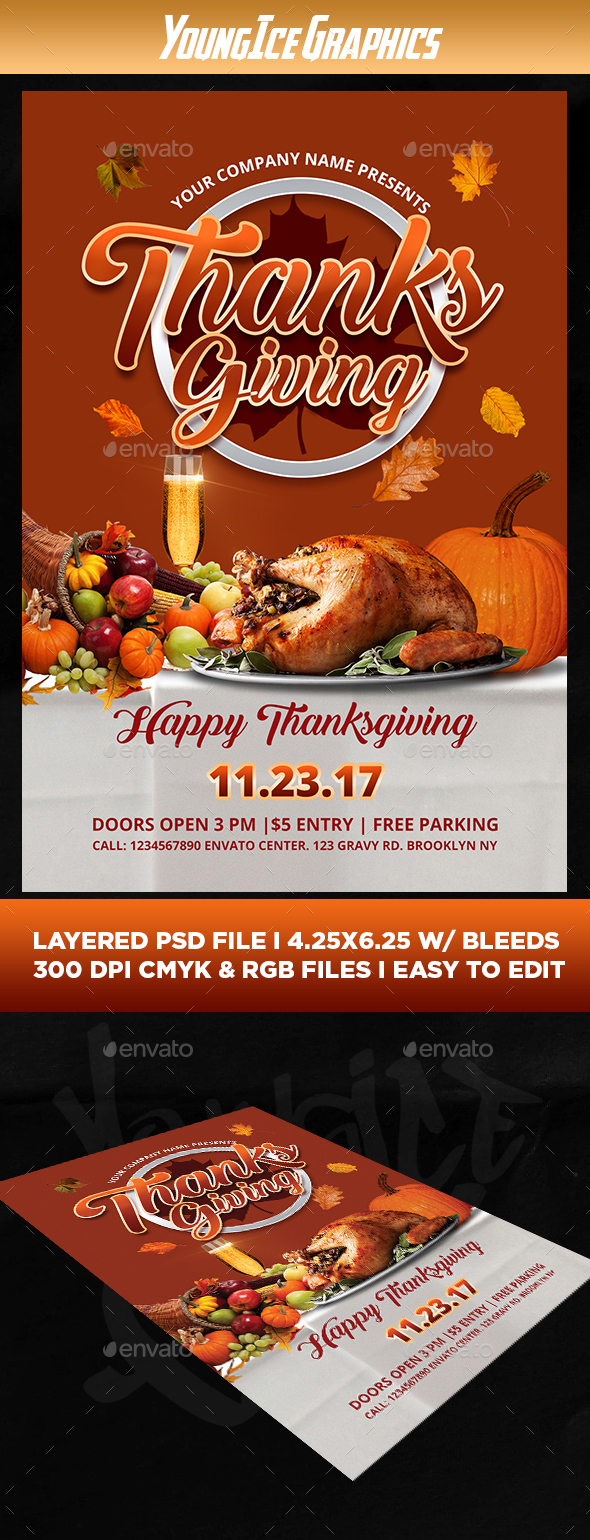 GraphicRiver Thanksgiving Flyer Template 21028314