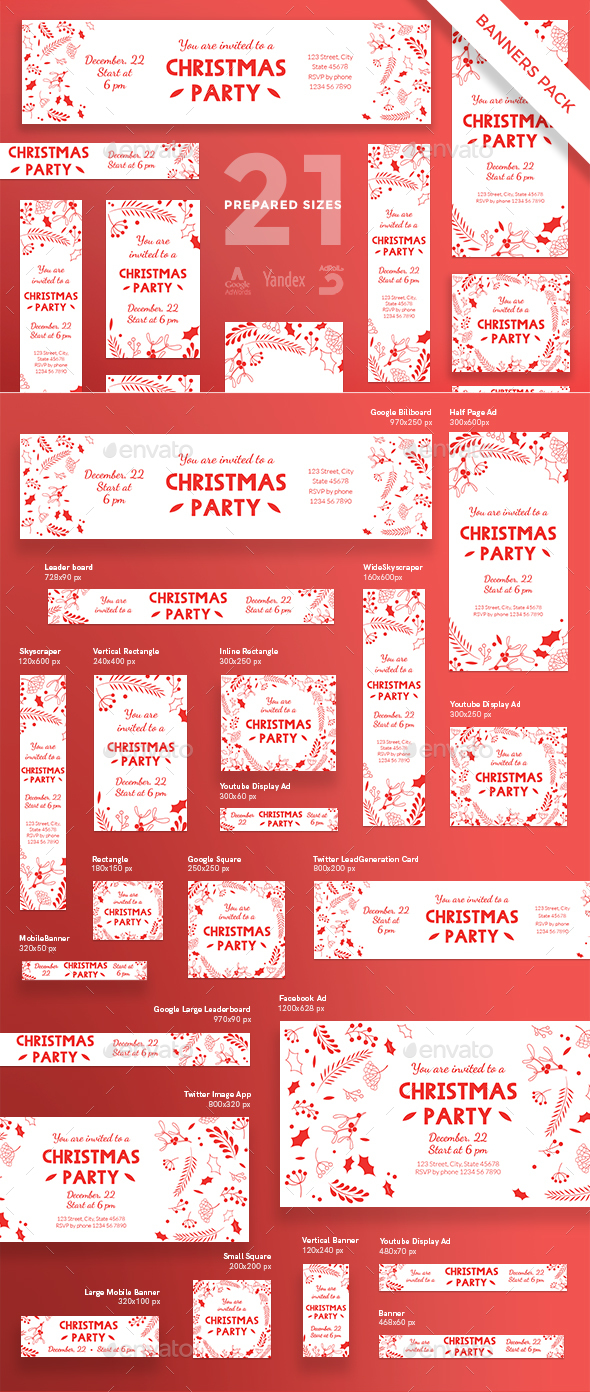 Christmas Party Banner Pack - Banners & Ads Web Elements