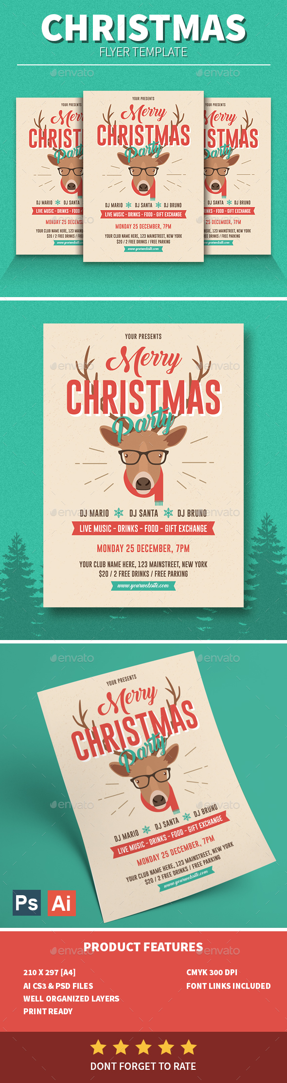 GraphicRiver Retro Christmas Party Flyer 21028349