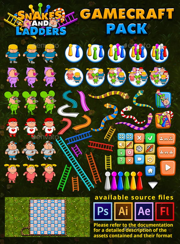 GraphicRiver Snakes and Ladders Game Assets 21028544