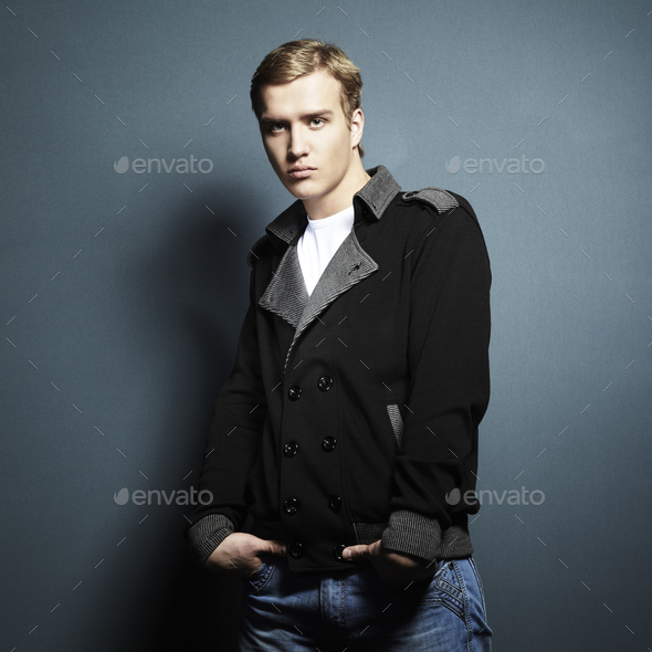 Fashion portrait of the young beautiful man - Stock Photo - Images