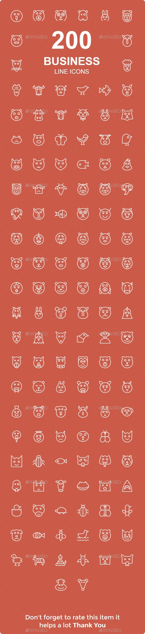 GraphicRiver 200 Animals line icons 21028800