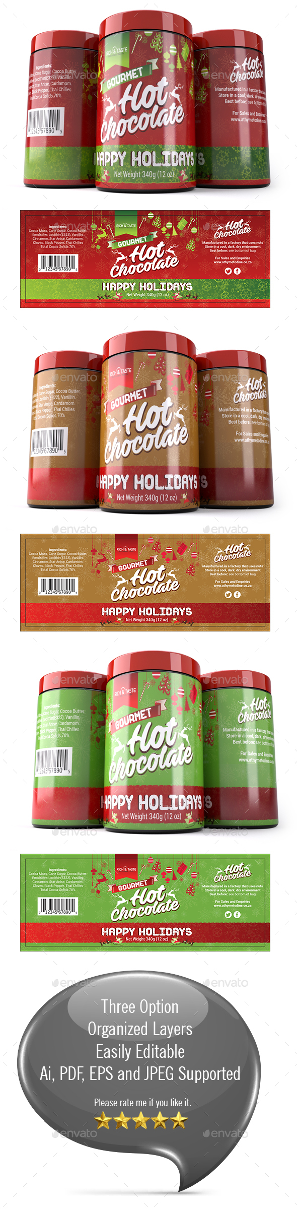 Christmas Chocolate Packaging Template - Packaging Print Templates