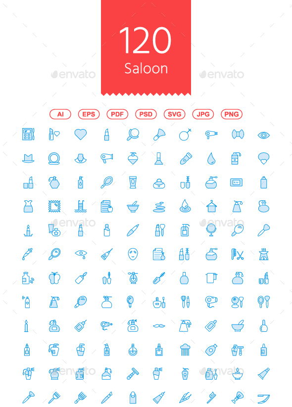 GraphicRiver 120 Beauty & Saloon Cute icon 21028917