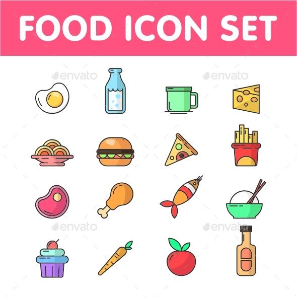 GraphicRiver Food Icon Set Vector 21028964