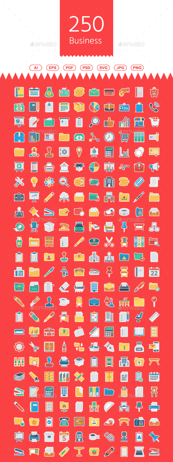 250 Business & Office Flat Paper - Business Icons