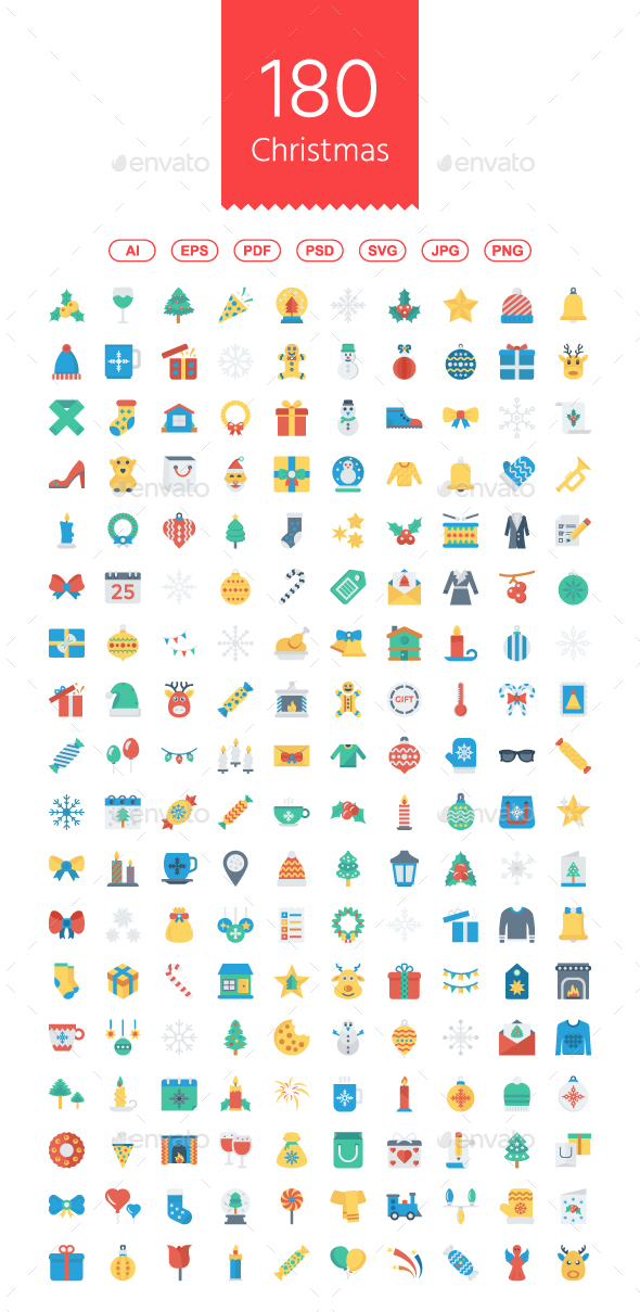 180 Christmas Flat Icons - Web Icons
