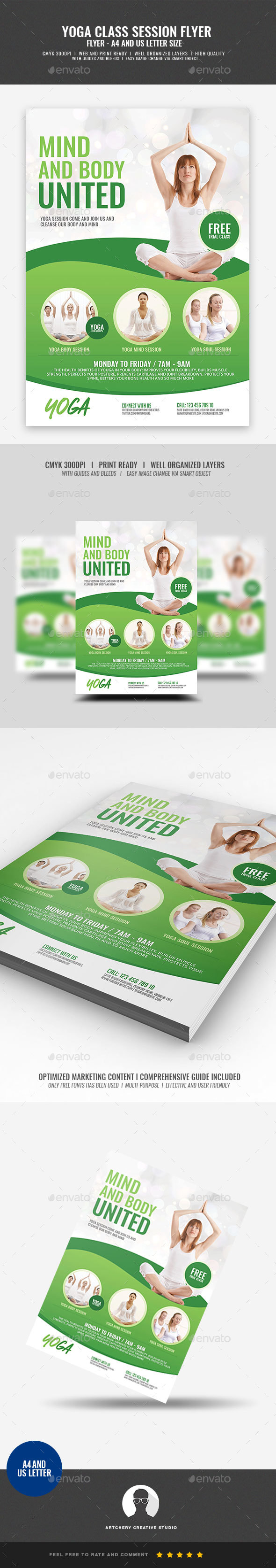 GraphicRiver Yoga and Meditation Flyer 21029021