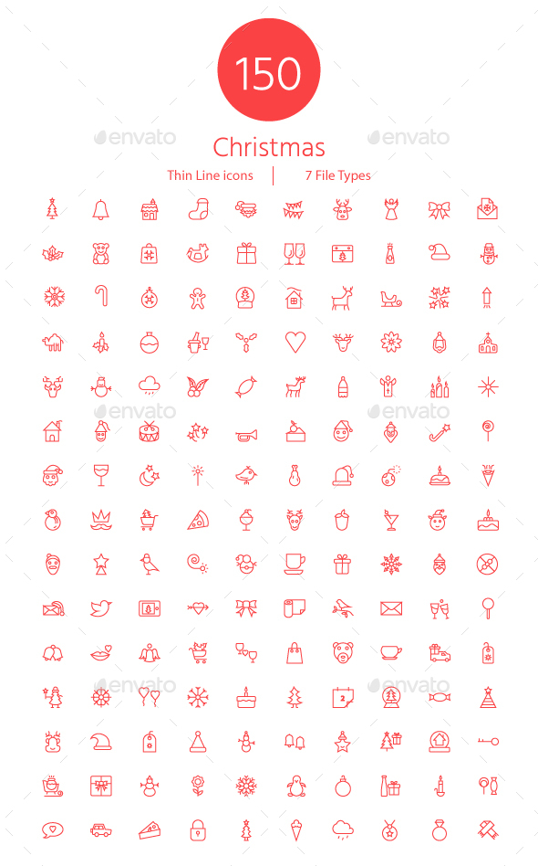 GraphicRiver 150 Christmas Thin Line Icons 21029032