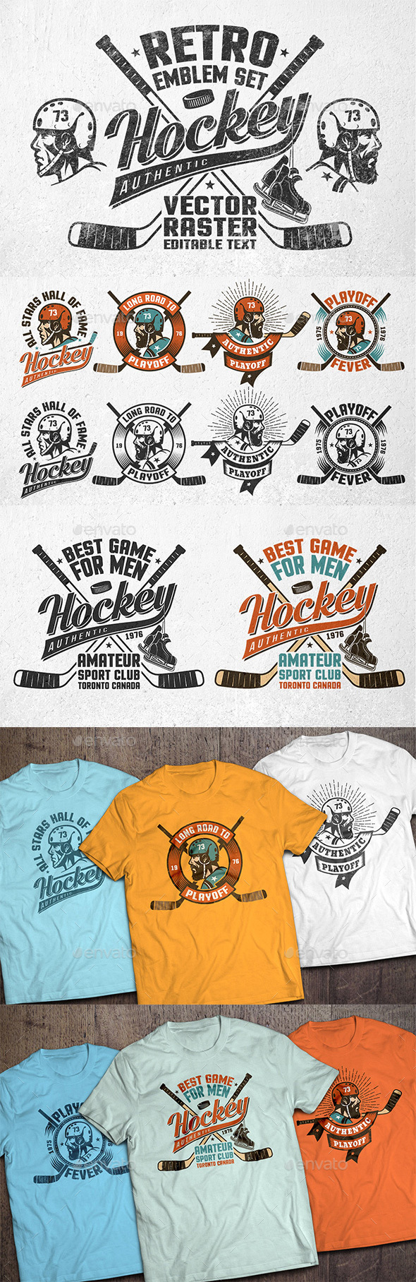 GraphicRiver Retro Hockey Emblems 21026023