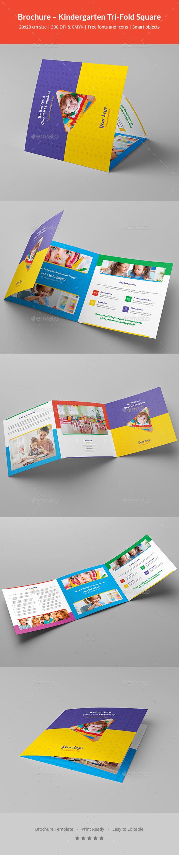 GraphicRiver Brochure Kindergarten Tri-Fold Square 21029090