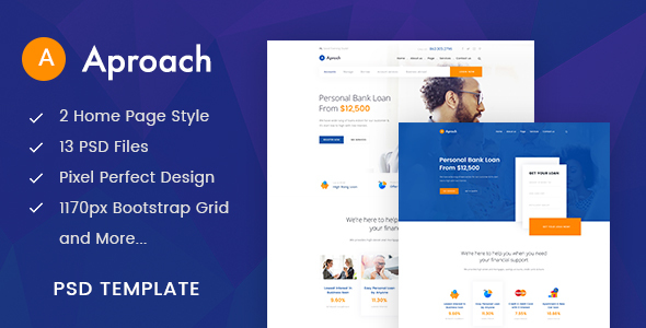 Aproach - Banking & Business Loan PSD Template - Business Corporate