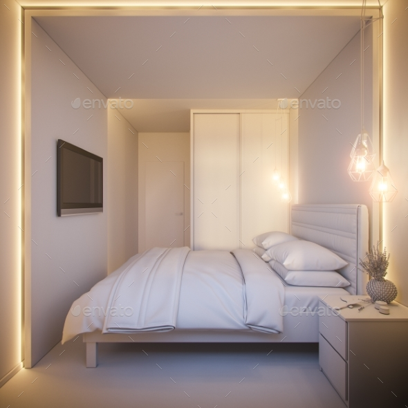 3d Render of an Interior Design of a White - Architecture 3D Renders