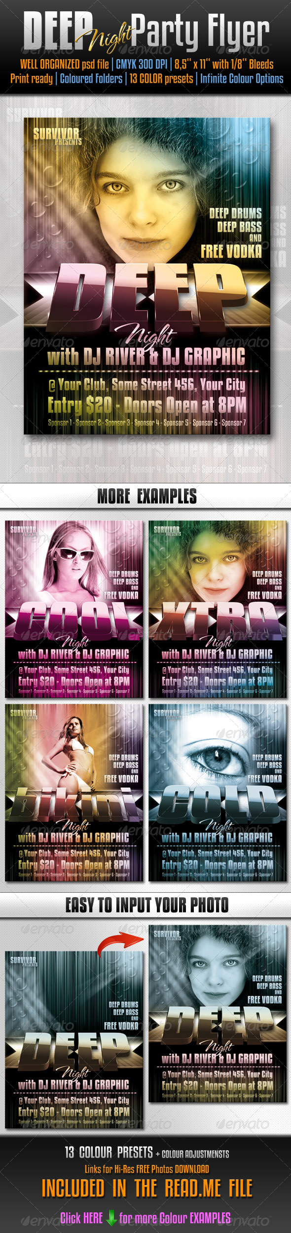 Deep Party Flyer / Poster Template - Clubs & Parties Events