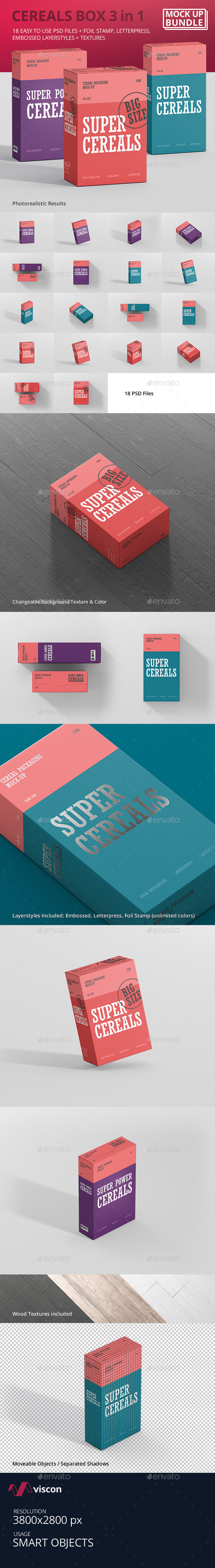 GraphicRiver Cereals Box Mockup Bundle 21029831