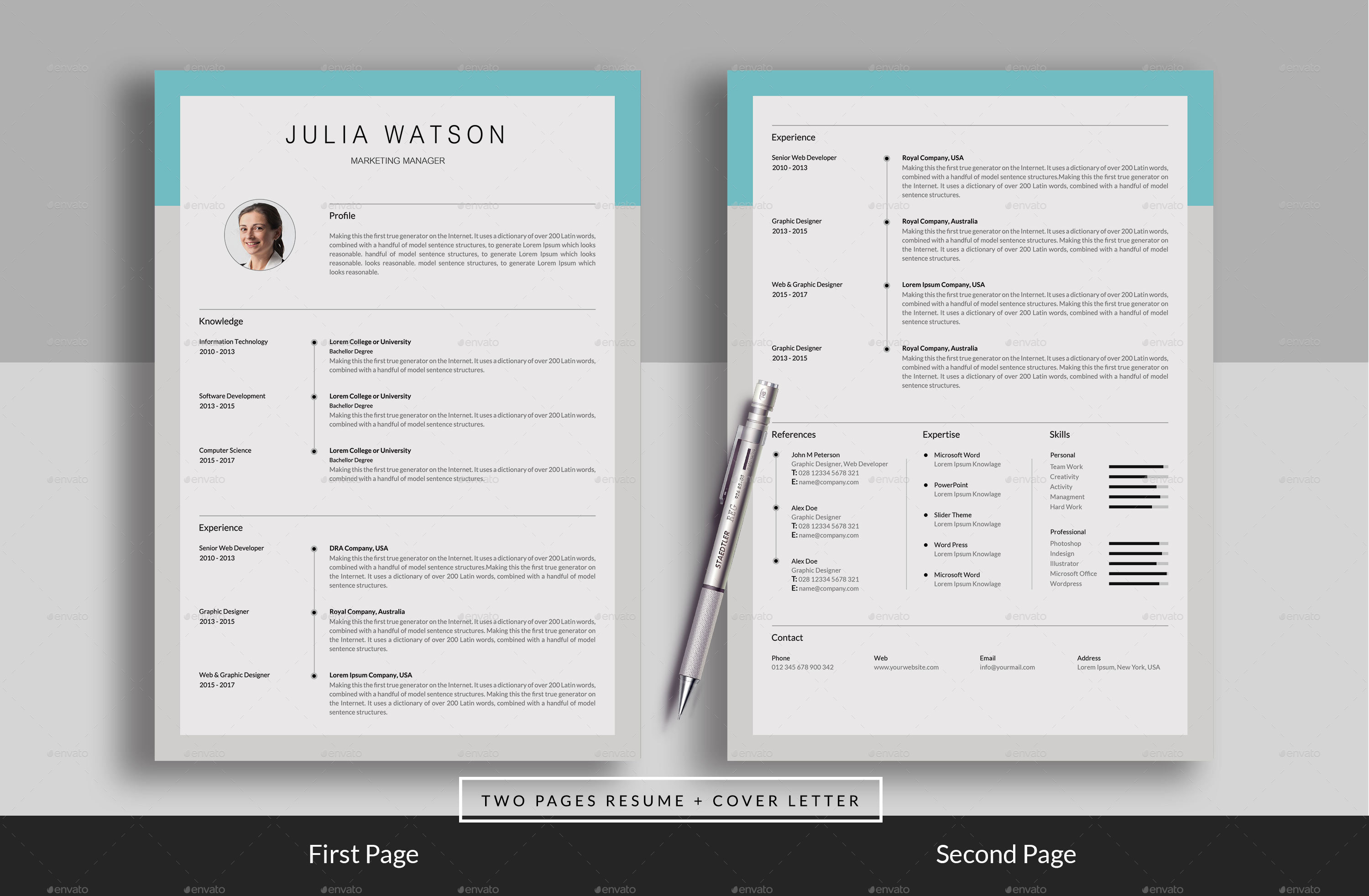 resume  cv  2 page  by realisticart