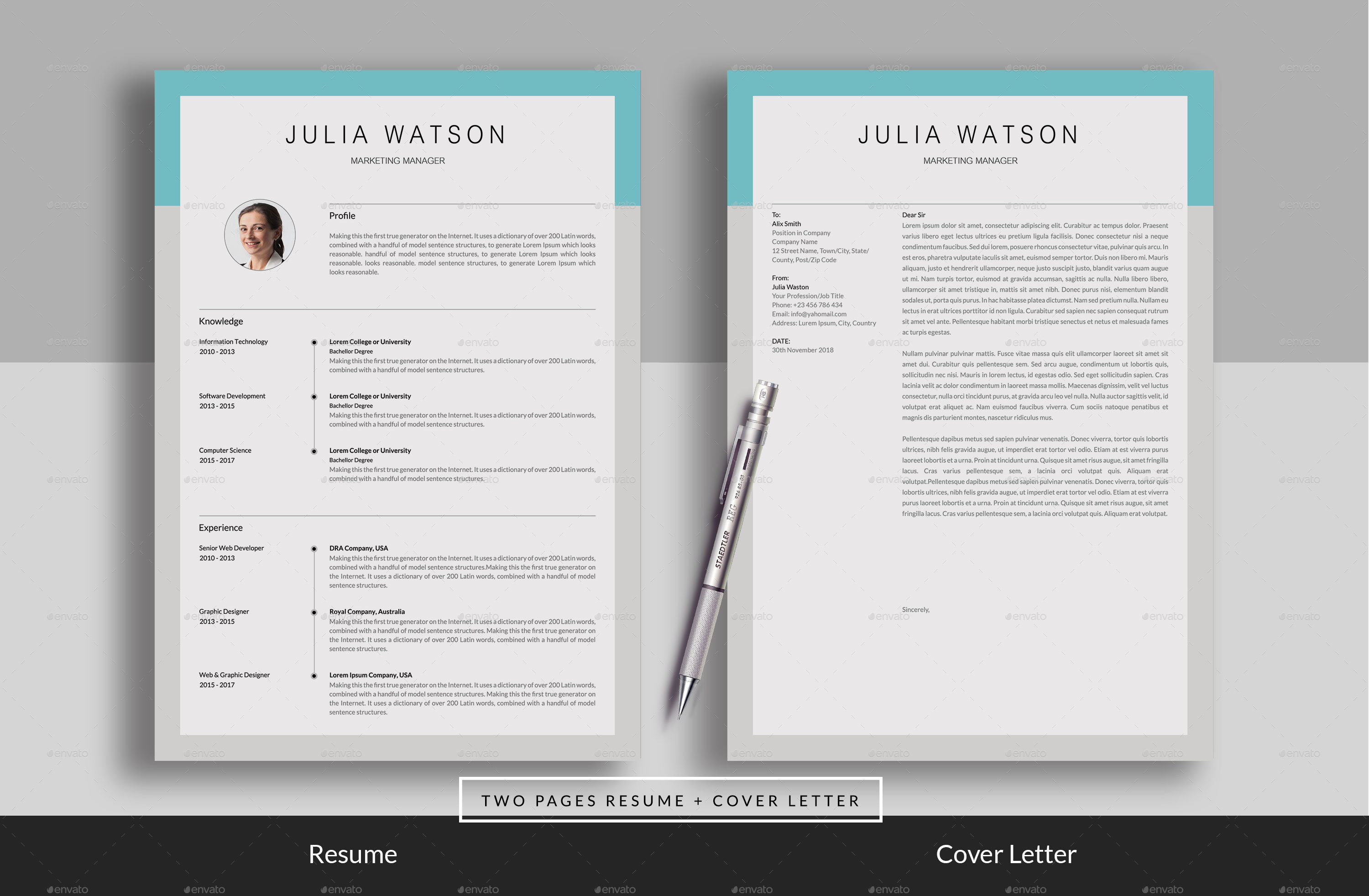 resume cv 2 page by realisticart graphicriver