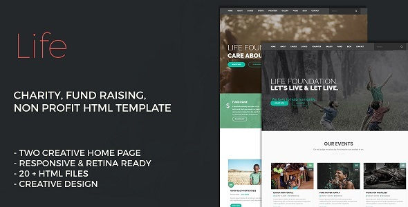 ThemeForest Life Charity Non Profit Fund Raising HTML Template 21030024