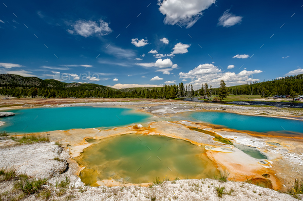 Hot thermal spring in Yellowstone - Stock Photo - Images