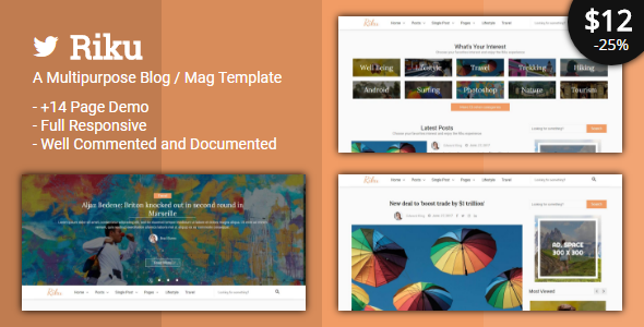 Riku - Multipurpose Blog / Magazine Template