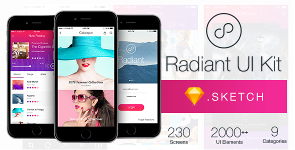 ThemeForest Radiant UI Kit 200& for Sketch 20919977