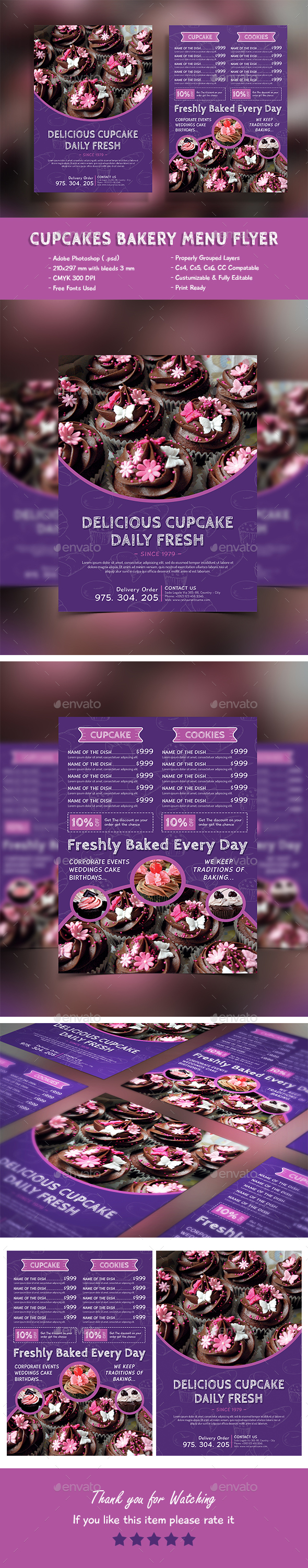 Cupcakes Bakery Menu Flyer