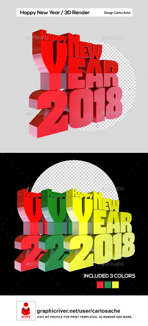 Happy New Year 2018 - 3D Render Text - Text 3D Renders