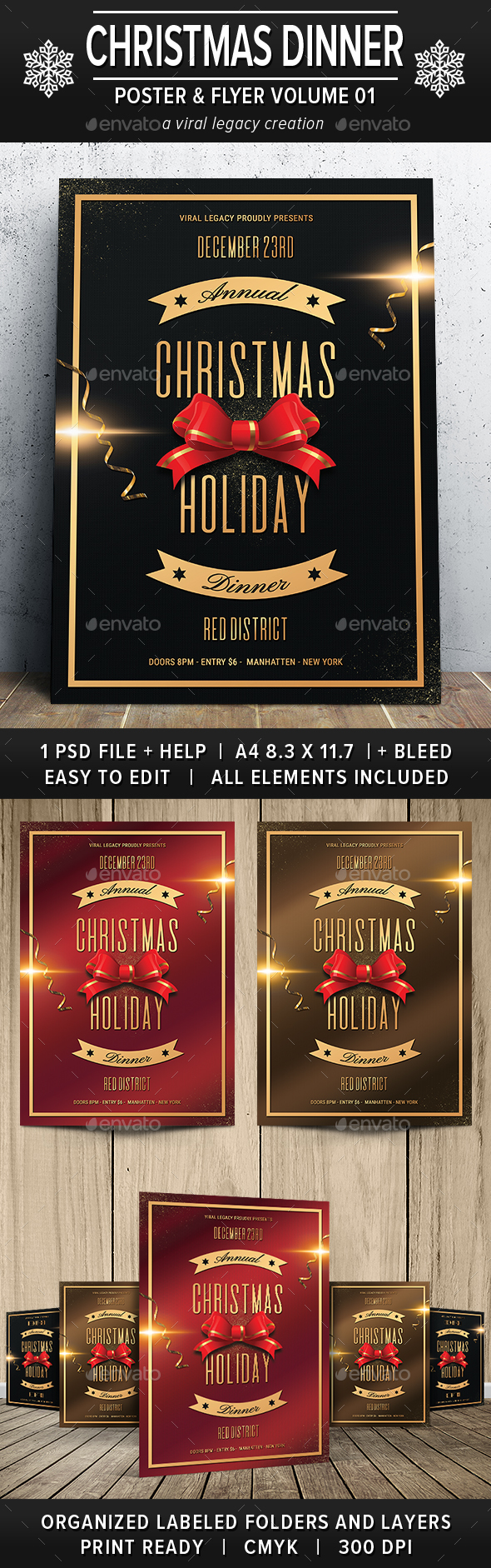 Christmas Holiday Dinner Poster/Flyer V01 - Flyers Print Templates