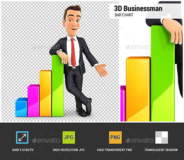 GraphicRiver 3D Businessman Leaning Against Bar Chart 21030765