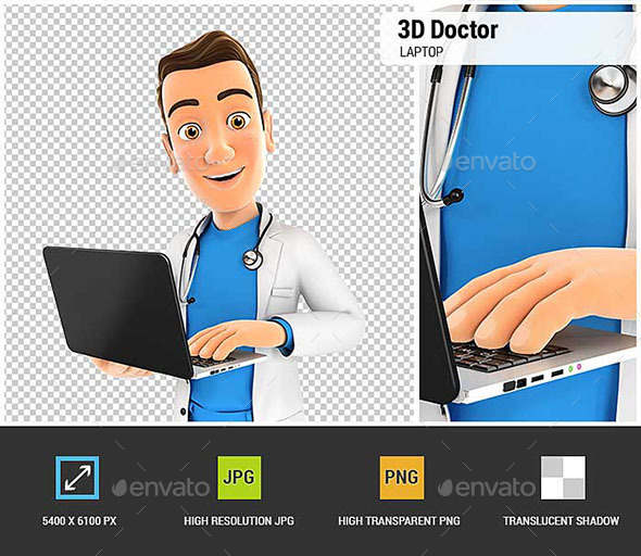 GraphicRiver 3D Doctor Standing and Holding Laptop 21030768