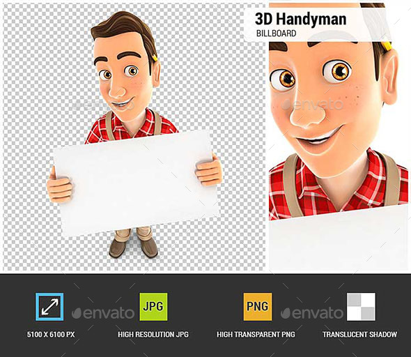 3D Handyman Holding a Billboard - Characters 3D Renders